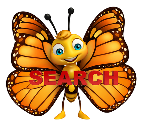yahoo: 3d rendered illustration of Butterfly cartoon character with search sign