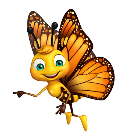 aerials: 3d rendered illustration of pointing Butterfly cartoon character