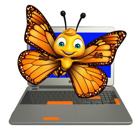 aerials: 3d rendered illustration of Butterfly cartoon character with laptop