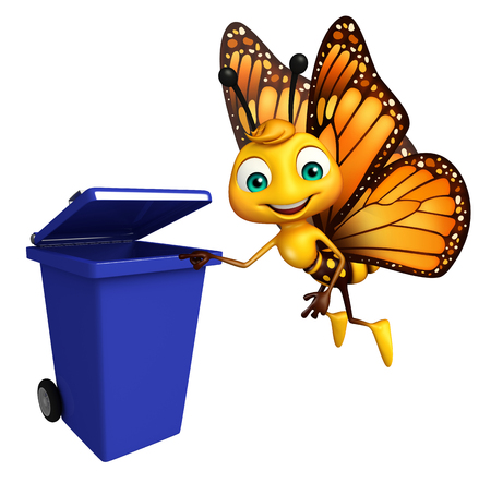 aerials: 3d rendered illustration of Butterfly cartoon character with dustbin