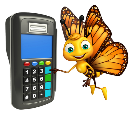 3d butterfly: 3d rendered illustration of Butterfly cartoon character with swap machine Stock Photo