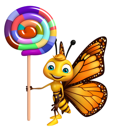 lollypop: 3d rendered illustration of Butterfly cartoon character with lollypop