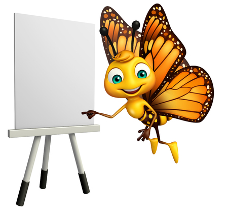 drawing board: 3d rendered illustration of Butterfly cartoon character with easel board