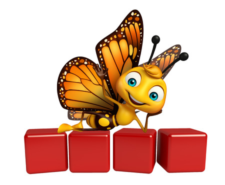 aerials: 3d rendered illustration of Butterfly cartoon character with level