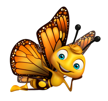 aerials: 3d rendered illustration of fuuny Butterfly cartoon character