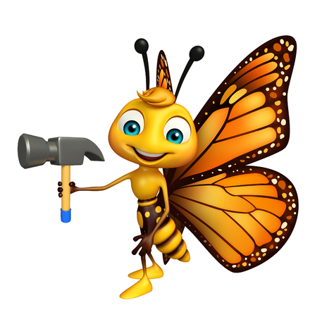 aerials: 3d rendered illustration of Butterfly cartoon character with hammer Stock Photo