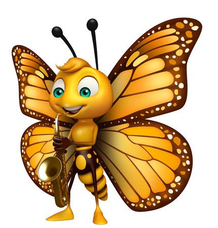 サックスと蝶の漫画のキャラクターの 3 d レンダリングされたイラストレーション