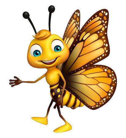 蝶の漫画のキャラクターを指しての 3 d レンダリングされたイラストレーション 写真素材 - 53166131