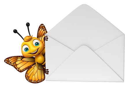 3d rendered illustration of Butterfly cartoon character with mail Stok Fotoğraf
