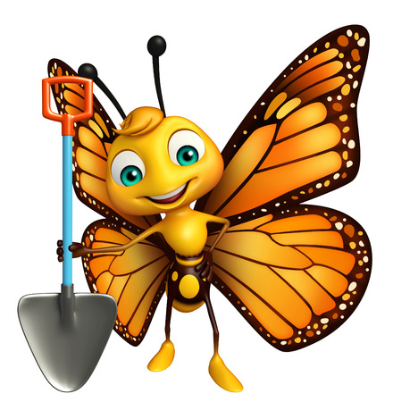 3d butterfly: 3d rendered illustration of Butterfly cartoon character with shovel Stock Photo