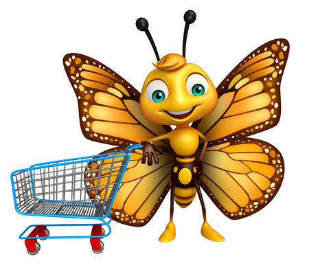 trolly: 3d rendered illustration of Butterfly cartoon character with trolly
