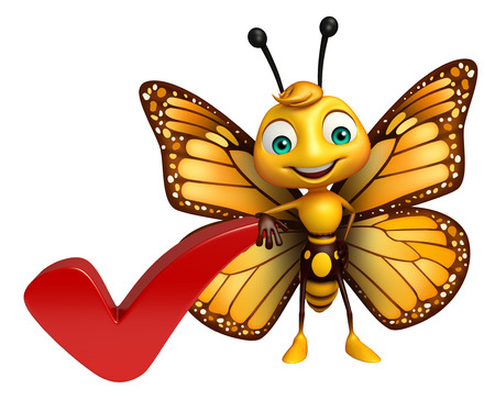 3d butterfly: 3d rendered illustration of Butterfly cartoon character with right sign Stock Photo