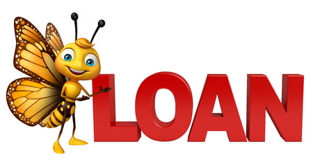 aerials: 3d rendered illustration of Butterfly cartoon character with loan sign