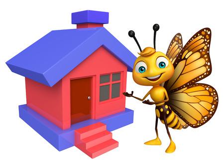 蝶の家と漫画のキャラクターの 3 d レンダリングされた図 写真素材