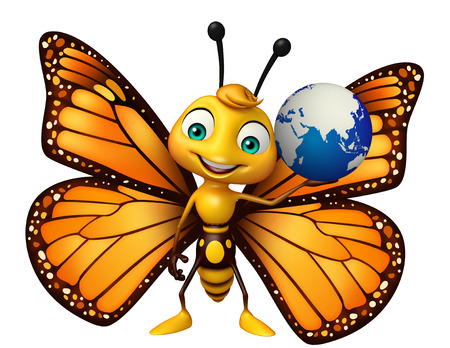 地球の記号と蝶の漫画のキャラクターの 3 d レンダリングされたイラストレーション 写真素材