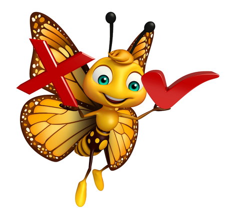 aerials: 3d rendered illustration of Butterfly cartoon character with right sign and cross sign