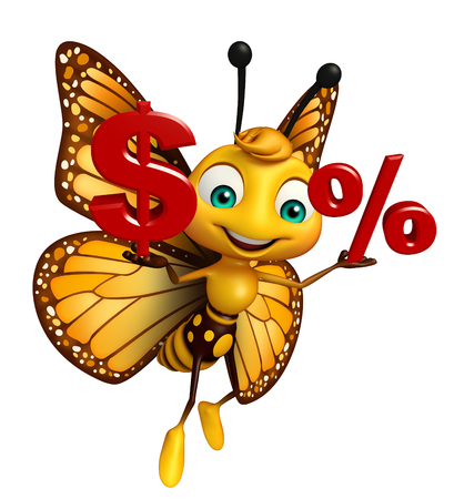 aerials: 3d rendered illustration of Butterfly cartoon character with dollar sign and % sign