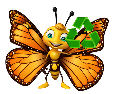 aerials: 3d rendered illustration of Butterfly cartoon character with recycle Stock Photo