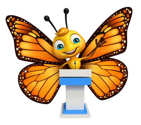 aerials: 3d rendered illustration of Butterfly cartoon character with speech stage Stock Photo