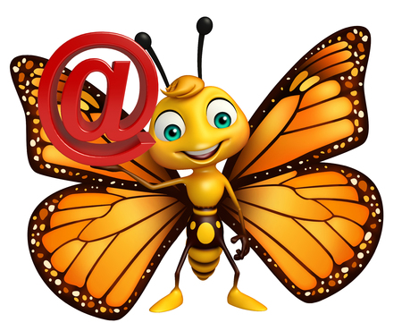 aerials: 3d rendered illustration of Butterfly cartoon character with at the rate sign Stock Photo