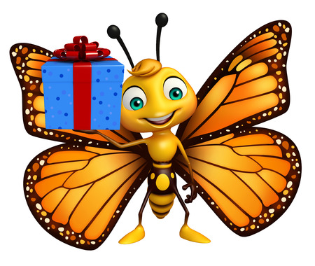 giftbox: 3d rendered illustration of Butterfly cartoon character with giftbox