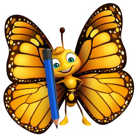 鉛筆で蝶の漫画のキャラクターの 3 d レンダリングされたイラストレーション 写真素材