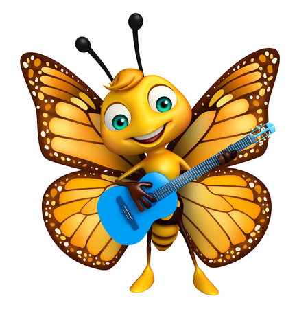 3d rendered illustration of Butterfly cartoon character with guitar