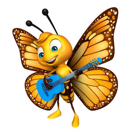 ギターと蝶の漫画のキャラクターの 3 d レンダリングされたイラストレーション 写真素材