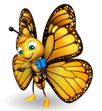 ヴァイオリンと蝶の漫画のキャラクターの 3 d レンダリングされたイラストレーション