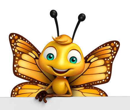 3d butterfly: 3d rendered illustration of Butterfly cartoon character with board