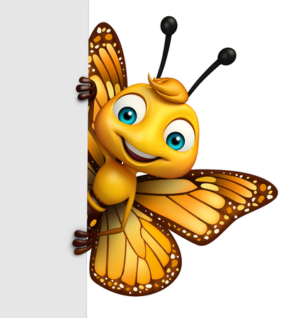 3d rendered illustration of Butterfly cartoon character with board