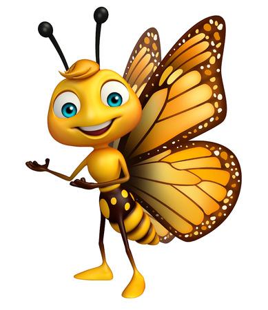 蝶の漫画のキャラクターを指しての 3 d レンダリングされたイラストレーション 写真素材 - 53166314