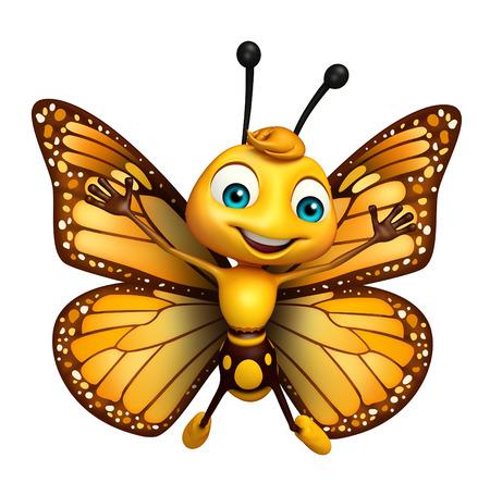 飛んでいる蝶の漫画のキャラクターの 3 d レンダリングされたイラストレーション 写真素材 - 53166318
