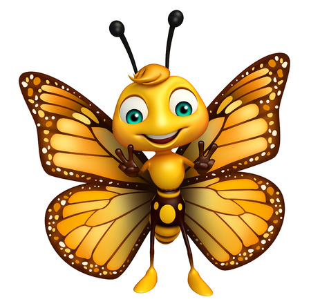 aerials: 3d rendered illustration of Victory Butterfly cartoon character