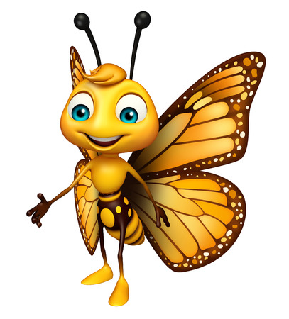 aerials: 3d rendered illustration of Walking Butterfly cartoon character Stock Photo