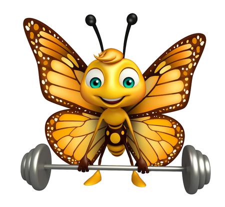 バーの重量と蝶の漫画のキャラクターの 3 d レンダリングされたイラストレーション