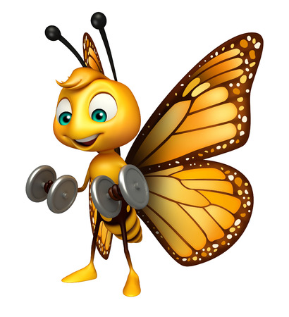 aerials: 3d rendered illustration of Butterfly cartoon character with dumbbell