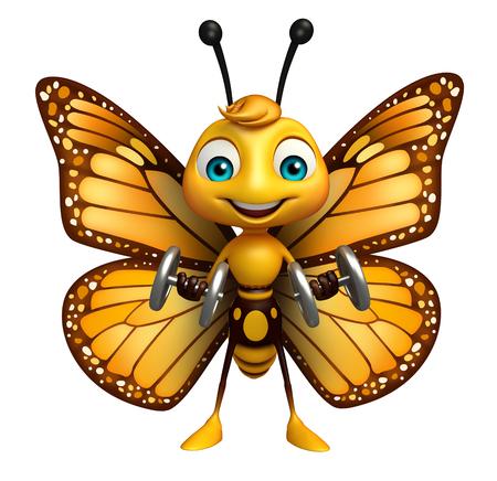 ダンベルと蝶の漫画のキャラクターの 3 d レンダリングされたイラストレーション