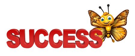 成功と蝶の漫画のキャラクターの 3 d レンダリングされたイラストレーション 写真素材 - 53166335