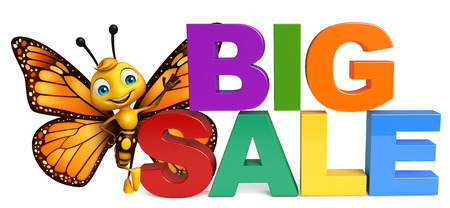 aerials: 3d rendered illustration of Butterfly cartoon character with bigsale sign