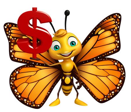 ドル記号と蝶の漫画のキャラクターの 3 d レンダリングされたイラストレーション