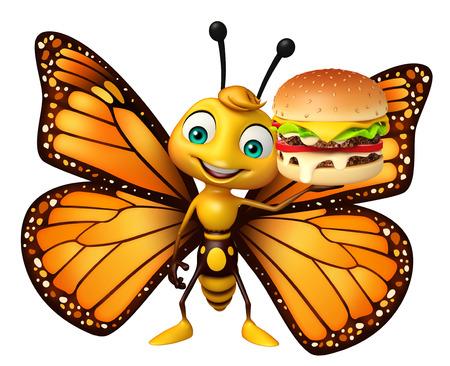 ハンバーガーと蝶の漫画のキャラクターの 3 d レンダリングされたイラストレーション 写真素材