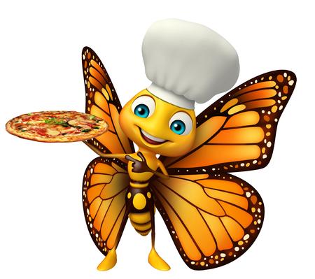 ピザとシェフの帽子と蝶の漫画のキャラクターの 3 d レンダリングされたイラストレーション