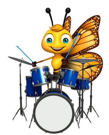 ドラムと蝶の漫画のキャラクターの 3 d レンダリングされたイラストレーション