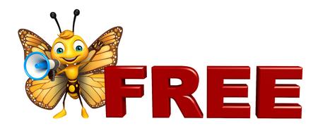 無料サインアップとラウド スピーカーと蝶の漫画のキャラクターの 3 d レンダリングされたイラストレーション