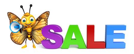 売却の記号とラウド スピーカーと蝶の漫画のキャラクターの 3 d レンダリングされたイラストレーション 写真素材