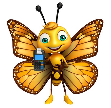 スワップ マシンと蝶の漫画のキャラクターの 3 d レンダリングされたイラストレーション