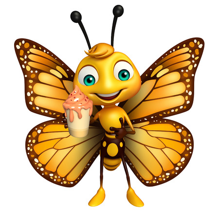 icecream: 3d rendered illustration of Butterfly cartoon character with ice-cream Stock Photo