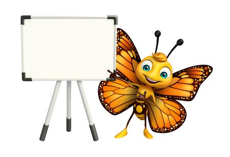 ディスプレイ ボードの蝶アニメ キャラクターの 3 d レンダリングされたイラストレーション