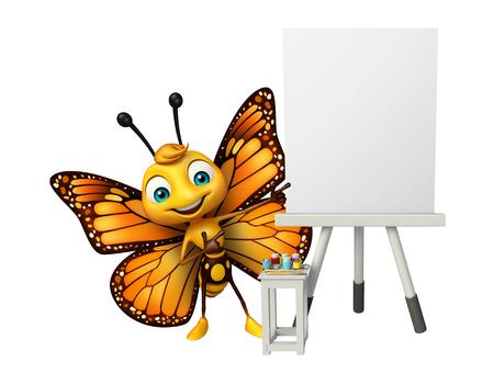 イーゼル ボードと蝶の漫画のキャラクターの 3 d レンダリングされたイラストレーション